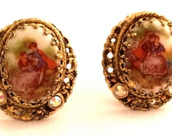 W GERMANY Cabochon Clip Earrings Golden Filigree Feminine Vintage Designer Jewelry artedellamoda SALE was 45