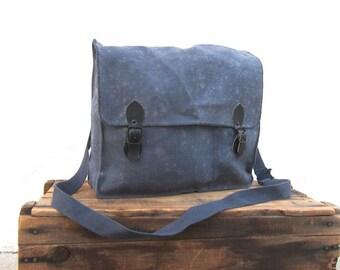 SALE Vintage Rugged Military Indigo Canvas and Satchel Messenger Bag