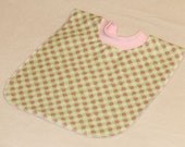 Large Pull Over Bib - Light Green with Pink Ladybugs