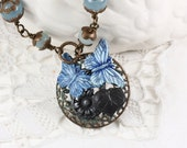 Butterfly Necklace, Layered  Pendant, Vinta, Butterfly, Filigree, Verdigris, Black, Leaf Pendant, Artisan Created