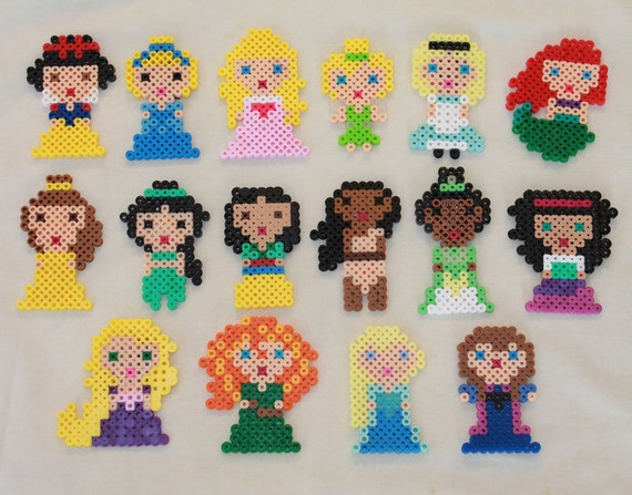 Items Similar To Disney Princesses Magnets Made From Perler Beads On Etsy