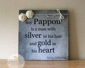 Personalized Father's Day Sign, Gift For Dad, Gift For Grandpa, Handcrafted Sign, My Grandpa Is A Man With Silver In His Hair...