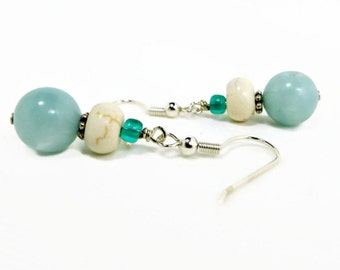 White Howlite, Aqua Glass, and Teal Glass Earrings