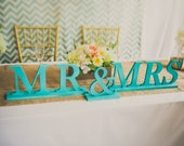 Mr and Mrs Wedding Signs for Hawaiian Beach Sweetheart Table - Teal, Peach, Mint, Coral - Mr & Mrs Letters for Wedding ( Item - MB100 )