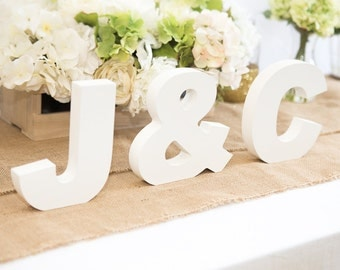 Wooden Letters - Freestanding Wedding Sign Initial Signs - Personalized Table Signs - Initials 2 Letters and Ampersand (Item - INI400)