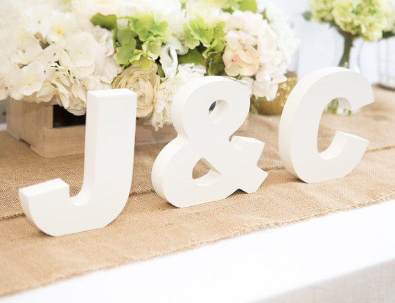 wooden letters freestanding wedding sign initial signs personalized table signs initials 2 letters