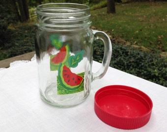 Anchor Hocking Watermelon Mason Glass Jar Drinking Cup Mug with Red Lid