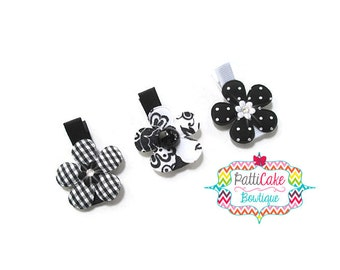 Baby Girl Hair Clips, Black & White Hair Clips, Baby Hair Clips, Girls Hair Barrettes, Toddler Hair Clips, Hair Bows, No Slip Hair Clips, 10