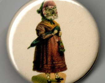 Lady Kitty out for a Stroll 1.25 inch Pinback Button Vintage Image
