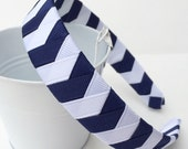 Navy Headband Chevron:  one inch wide ribbon woven hairband