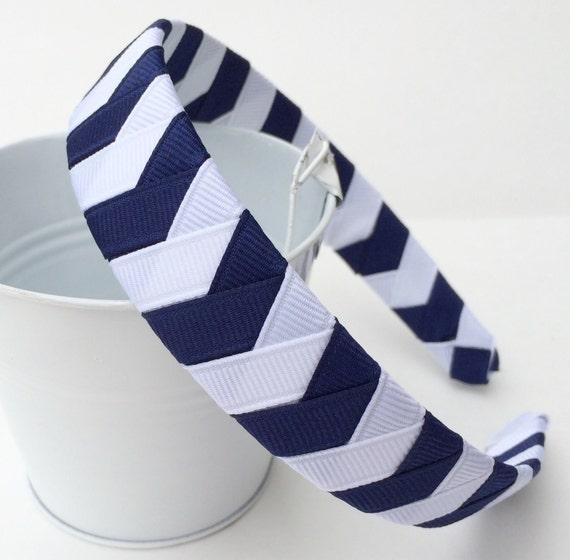 Navy Headband Chevron:  one inch wide ribbon woven hairband