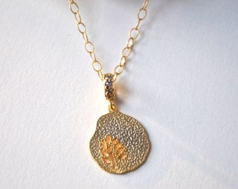 Tree of life Necklace Hammered tree gold plate, bridesmaid gifts,