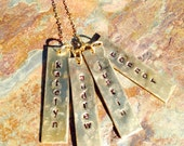 Hand stamped necklace - personalized - custom - gold bars rectangles