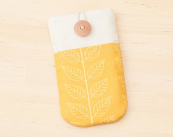 iPhone SE sleeve / Samsung Galaxy S6 / Nexus 5x cover / Samsung Galaxy case / Moto G sleeve case / - yellow leaves with  pockets -