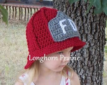 Fireman Helmet crochet hat (baby & toddler sizes)