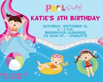 Pool party birthday invitation -- girls pool party - water slide invitation- swimming party - girl swimmer