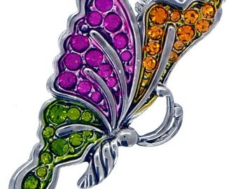 Multicolor Flying Butterfly Crystal Pin Brooch 1010271