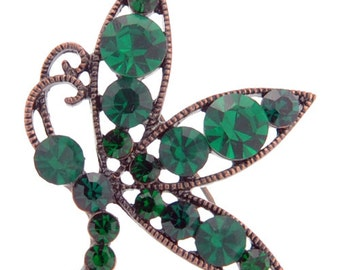 Vintage Style Flying Butterfly Emerald Green Crystal Pin Brooch 1003112