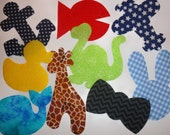 9 Iron On Baby Boy Fabric Applique Assortment...Whale/Giraffe/Dinosaur/Duck/Anchor..Great For Baby Shower Onesie Making Party/Quilts/Onesies