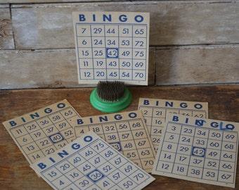 Vintage Bingo Cards Blue Set of 6