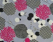 SALE Echino Fabric 2013 Decoro Kokka Fabric Bird Fabric  in Gray / Pink - 1 Yard