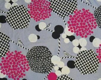 SALE Echino Fabric 2013 Decoro Kokka Fabric Bird Fabric  in Gray / Pink - 1 Yard