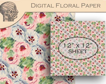Digital Floral Paper Flower Background Pink Blue Flowers Instant Download Printable 12x12 Scrapbooking Paper Graphics