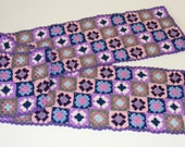 Fine granny squared lady scarf in blue and pink colors