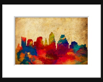 Austin Texas Skyline Typography Print Poster Map Abstract Grunge