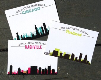 City Skyline Personalized Note Cards - Set of 12 - Choose your city