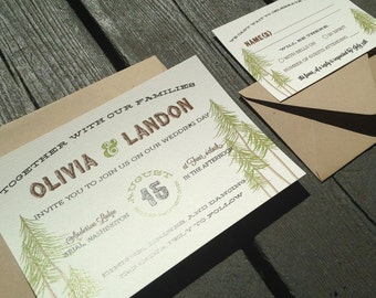 Rustic Woodland Wedding Invitation | Starts at 3.75 each | Sample | Hand Drawn Trees | Woodsy Forest Wedding Invites