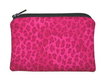 Hot Pink Leopard Animal Print Coin Change Purse Small Zipper Pouch