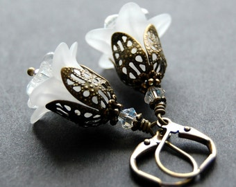 White Flower Earrings, Vintage Style, Frosted White Lily Lucite Flowers, Antique Brass, and Swarovski Crystal