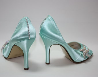 Wedding Starfish Shoes - Beach - Aqua Blue Shoes - Choose From Over 200 Color Choices - Destination Wedding Shoes By Parisxox