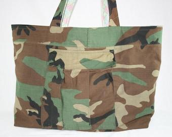 Woodland Camo Large Tote Bag Upcycled Repurposed Camouflage Uniform