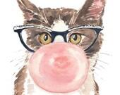 Cat Watercolor PRINT, Bubble Gum, Cat Eye Glasses, 11x14 Print, Large Format Print