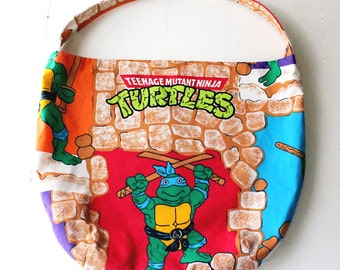 Teenage Mutant Ninja Turtles Purse or Bag - TMNT Eighties Ninjas - Shoulder Bag Style - Upcycled from vintage fabric