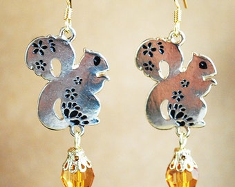 Gold Squirrel Earrings with Amber Crystals