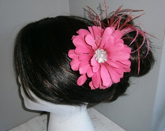 Bridal feather Facinator, Bridal Hair clip, wedding accessory, hot, pink, fushia, ostrich - Hot Pink DAISY