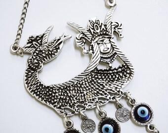 Shahmaran Wall Hanging Amulet Handmade Turkish Silver Plated Evil Eye Bead