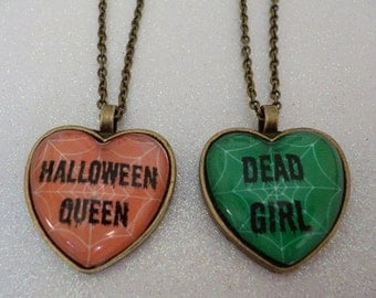 Halloween Heart Cameo Necklace - Halloween Queen/ Dead Girl