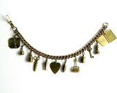 Antique Vintage Gold Charm Bracelet With 12 Charms - Movable - 7 inches