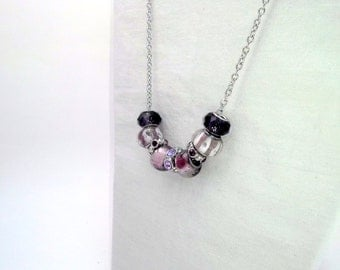 Chunky Purple Pink Lavender Glass Bead Necklace