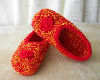 Hand Crochet WOOL Slippers thick & durable in RED Yellow /  Diabetic Chunky Wool Slippers / Bright Gift idea / Gift under 20 dollar