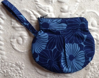 Zipper Pouch - Clutch - Blue Floral Modern Print - zipper bag organizer - zipper clutch - coin purse - change purse - Made to Order