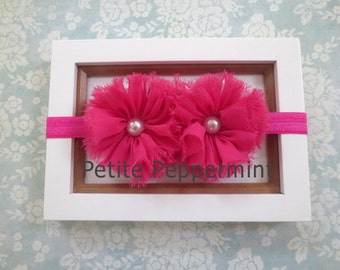 Hot Pink Baby headband, Pink baby girl headband, newborn headband, toddler headband, Hot Pink Flower Headband, Baby Hair Bow, Baby Head Band