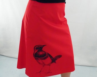 Red A-Line Bird Print Skirt