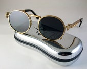 round gold metal sunglasses for men polarized lens Steampunk