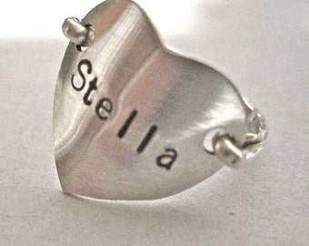 sterling silver stamped heart ring date inside.  customized name boyfriend wedding child