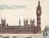 Big Ben and Houses of Parliament, London print, mid century illustration by Sasek
